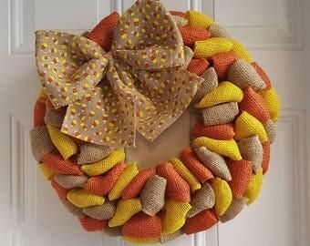 Candy corn wreath burlap wreath Fall wreath autumn wreath Halloween wreath Thanksgiving wreath shabby chic wreath rustic wreath