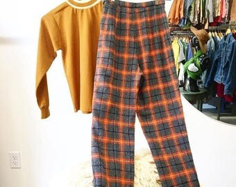 """Sold in store. Do not buy.  Sixties 1960s Plaid High Waist Women's Pants. So Very Mod. 24"""" to 25"""" waist"""