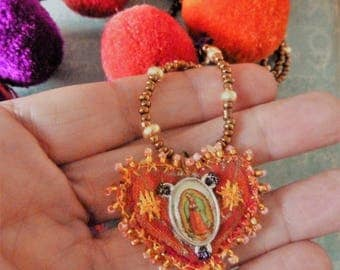 The Virgin of Guadalupe Heart Necklace