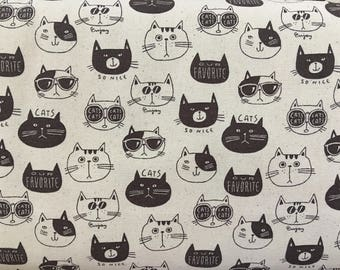 Kokka Cats fabric.Lightweight Cotton Canvas.PA-44700-702A.