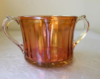 US Glass Carnival Iridescent Marigold  Sugar Bowl