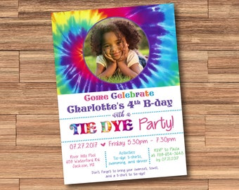 Tie Dye Party Invitation with Photo! Digital File. Print at Home.