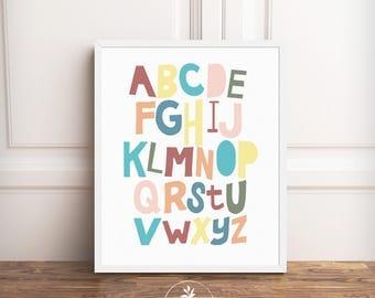 Alphabet INSTANT DOWNLOAD, nursery art, Classroom Art, Kids room art, printable poster BY Faboomie