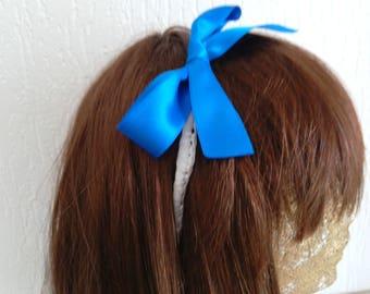 "Headband hand made rigid white, blue satin bow ""the girl model"""
