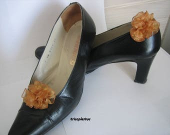 Pair of clips for shoes Brown caramel organza, wedding, handmade