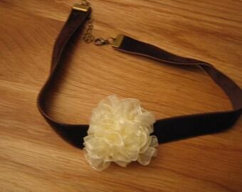 Choker, Velvet Brown, ecru organza flower, handmade