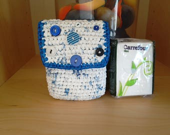 Case for handkerchiefs flinging recycling case stamps protected folded pants crocheted handmade upcycling cards