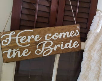 Here comes the Bride - Ring Bearer Wood Sign - Wedding Decor - Wedding Sign