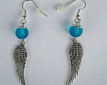 Angel wing and blue pearl earrings