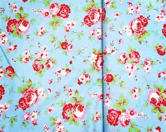 IKEA Cath Kidston Style Rosali Shabby Chic Blue Floral 100 % Cotton Fabric / Length 100 cm (1m) /Width 150 cm