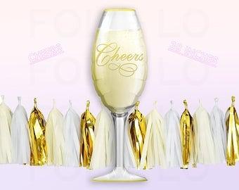 Champagne Glass Balloon | Jumbo 38 Inch Balloon | Cheers Party Decoration Balloon | FOLI + LO on Etsy
