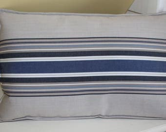 Navy Blue and beige striped Cushion cover 30 x 50