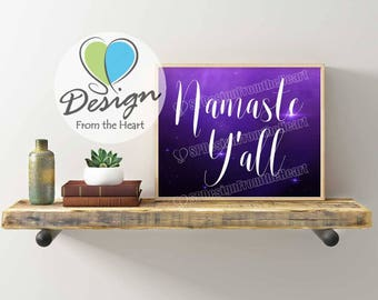 Digital Download, Namaste Y'all, Art and Collectibles, Home Decor, Digital Print, Zen, Inspirational, Color