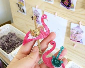 Acrylic brooch -  Carousel Flamingo - Florence the Flamingo -  TEAL