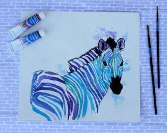 Zebra Original Artwork, Original Watercolor Painting, Colorful Painting, Original Animal Art, Original Art