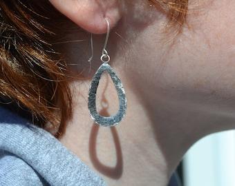 Silver Teardrop Hammered Earrings