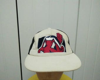 Rare Vintage CLEVELAND INDIANS Big Logo Embroidered Cap Hat Free size fit all