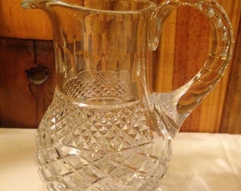 "Vintage Cut Lead Crystal Pitcher 7.25"" Tall , 2.10 Pounds"