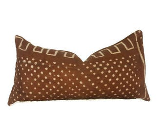 12x24 Rust Brown Dot Mudcloth Lumbar Pillow Cover, Orange Rust Mudcloth Pillow, Tribal Pillow, Bohemian Pillow, Boho Pillow, Boho Chic