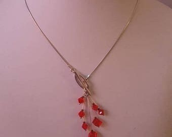 ON SALE Vintage Sterling Silver Necklace with Glass Beads