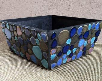 Handmade Mosaic Planter with Water Reservoir (blue, turquoise, bronze, black)