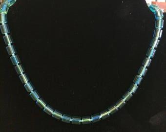 Blueish Greenish barrel beaded necklace