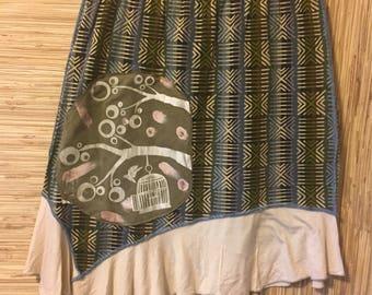 Free bird-Earthy upcycled tribal print -exposed blue seams-Shabby urban gypsy boho chic-Sz Med