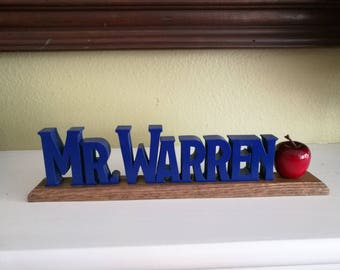 Personalized Teacher Name Sign with Apple