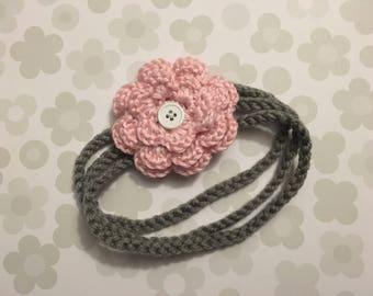 Crochet Baby Headband with 2 Interchangeable Flowers