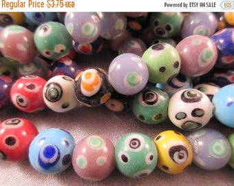ON SALE 15% OFF Lampwork Glass Round Beads 33pcs