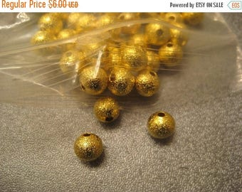ON SALE 15% OFF Gold Tone Stardust Ball Round Spacer Beads 8mm 150pcs