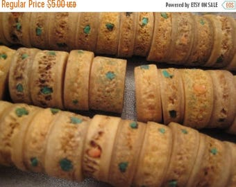 ON SALE 15% OFF Bone w/ Turquoise & Coral Chips Beads 10pcs