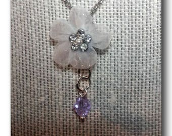 "Silver.""Flower Beauty"" white mesh, zirconia, purple crystal,fun,birthday,delicate,anniversary,chic,flower,pearl."