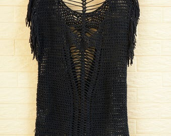 Black  Open Back Crochet Fringe Top Women Blouse
