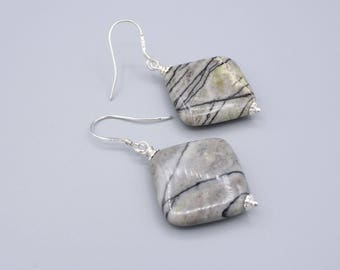 Picasso Jasper Earrings, modern dangle earrings,  handmade artisan jewelry, sterling silver,