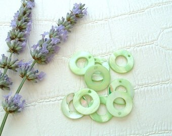 Set of 5 circular shell beads 20mm genuine Green Apple