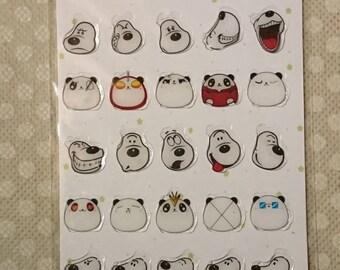PlANNER PANDAS/ Sticker Sheet/ gel stickers, kawaii, 1 large sticker+ assorted  mini pandas/ scrapbook, planner stickers