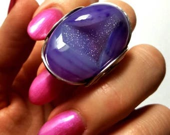 SALE Purple Druzy Ring, Size 8, 8.5, Size 9, Sterling Silver Statement, Finger Candy, Grape Purple, Handmade Jewelry, Bright Colorful Bold