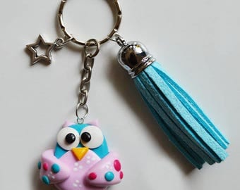 OWL - turquoise and pink - blue tassel Keyring