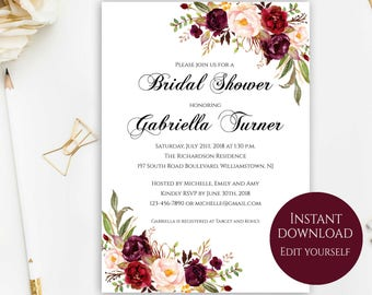 Bridal Shower Invitation, Editable Template, Bridal Shower Printable, Fall Bridal Shower, Marsala Bridal Shower, DIY Bridal Shower, PDF