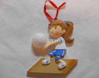 Girl Volleyball with Blue Personalized Christmas Ornament