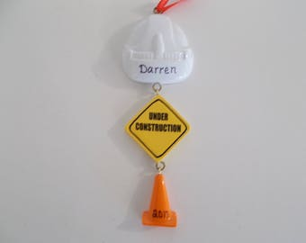 Construction Personalized Christmas Ornament