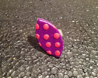 Purple and Red polymer clay ring