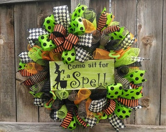 sale halloween wreath witch wreath come sit for a spell wreath halloween