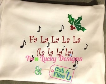 Holly Christmas Song Music Notes cut file design as SVG, GSP for Silhouette, pdf, and JPEG for Silhouette and Cricut using vinyl, htv, paper