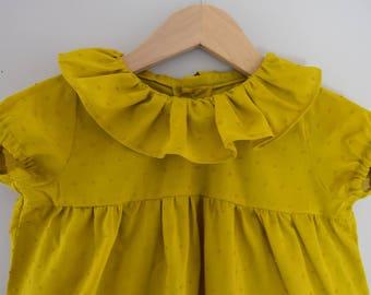 Blouse / frill collar baby girl short sleeve tunic