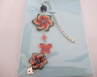 Bookmark flowers red and black
