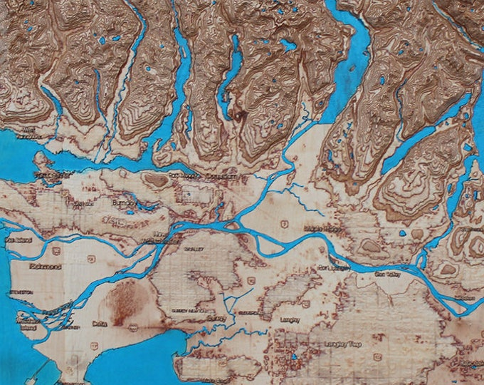 "3D map of Vancouver area, Canada, 18"" x 42"" /street map/wooden map"