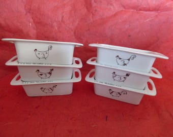 set of 6 mini molds for individual cakes in porcelain