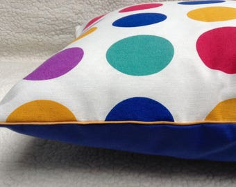 Cushion cover 40 x 40 cm, multicolored round POP cotton blue and mustard piping